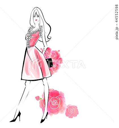 キュートな女の子 赤いドレスと花束 44552598