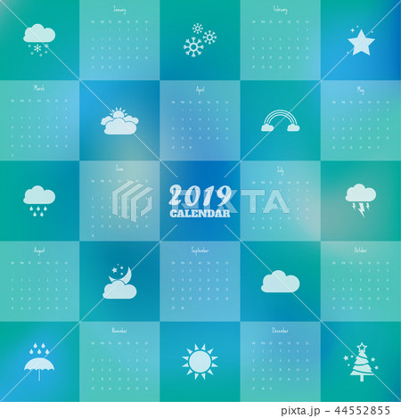 2019 Modern calendar template .Vector/illustration 44552855