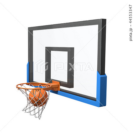 3d rendering of a basketball ball falling inside a basket attached to a transparent backboard. 44553347