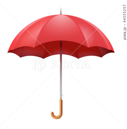 Classic open red umbrella isolated on white  44555257