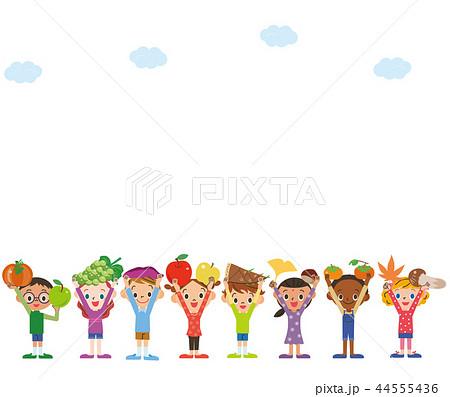 食材の収穫 子供達 空 44555436