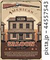 Wild West retro poster, American saloon and gun 44557543