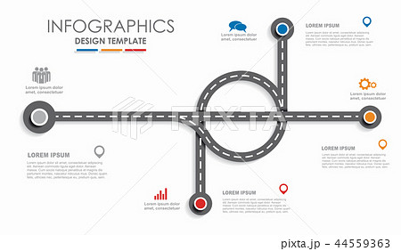Navigation roadmap infographic timeline concept with place for your data. Vector illustration. 44559363