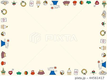 手描き 正月 フレームのイラスト素材 44561417 Pixta