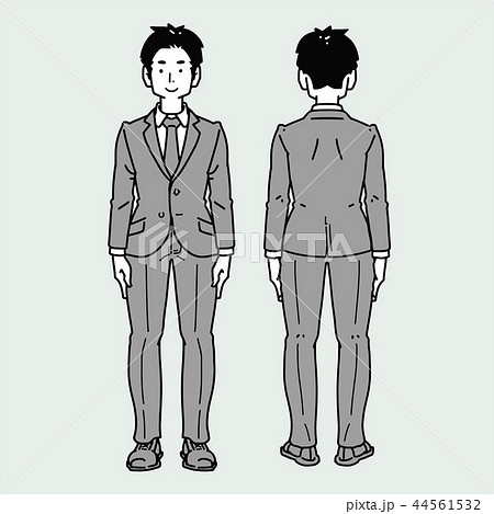 モノクロの男性全身像-スーツ 44561532