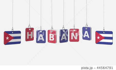 Tags featuring flags of CUBA and Habana text. 3D rendering 44564791