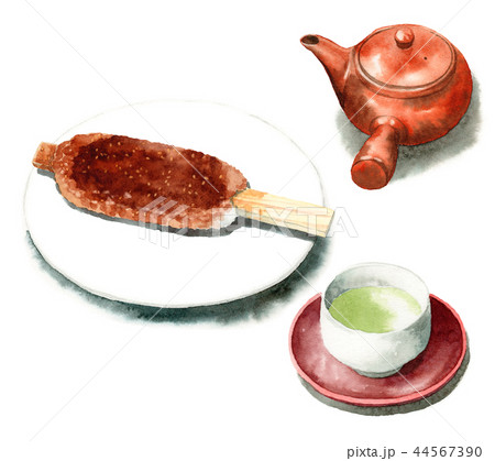 水彩で描いた五平餅と急須と日本茶 44567390