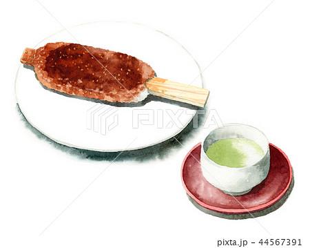 水彩で描いた五平餅と日本茶 44567391
