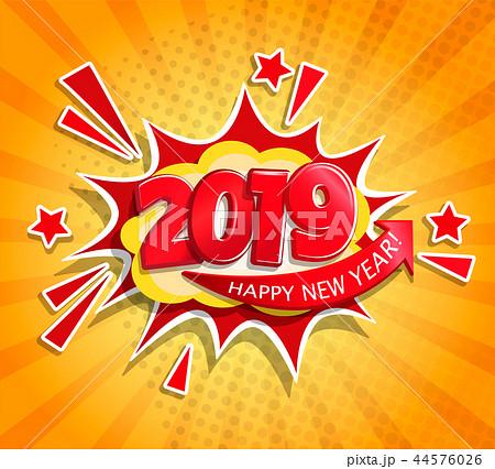 2019 New Year Boom card in retro pop art style. 44576026