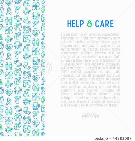Help and care concept with thin line icons 44583087