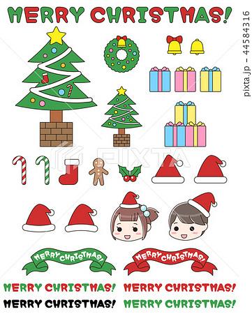 クリスマスのイラストセット サンタ・ツリー・飾り・リース・プレゼント 44584316