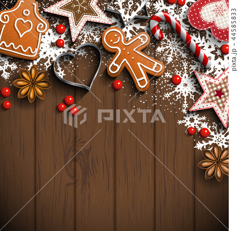 Christmas background with gingerbread and spices  44585833