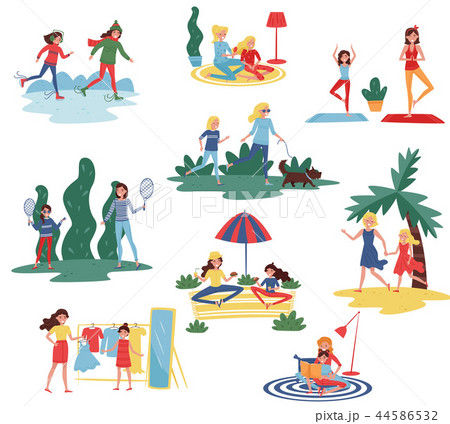 Flat vector set of happy mothers with daughters in different actions. Moms spending time with their 44586532