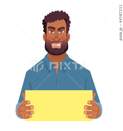 African man holding blank card 44587211