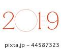 年賀状 2019 フォトフレーム レッド 44587323