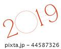 年賀状 2019 フォトフレーム レッド 44587326