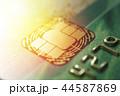 Gold credit cards close up. Macro shot smart card, credit card chip 44587869