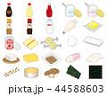 食材イラスト【調味料・乳製品・大豆製品・加工品アイコン集】① 44588603