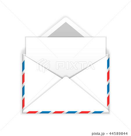 Open envelope with blank sheet of paper flat icon 44589844