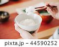 箸でごはんを食べる日本人女性の手元 44590252