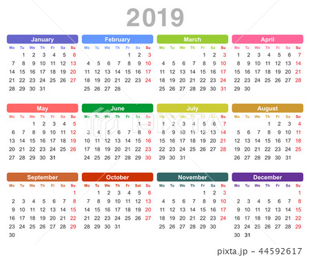 2019 year annual calendar (Monday first, English) 44592617