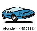 イタリアンスポーツクーペ 青色系 ジャンプ 自動車イラスト 44598584