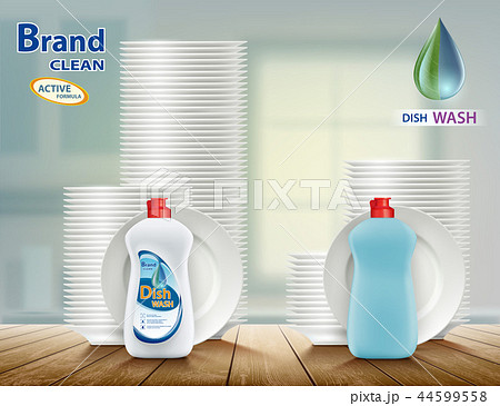 Dishwashing liquid soap with plates.  44599558