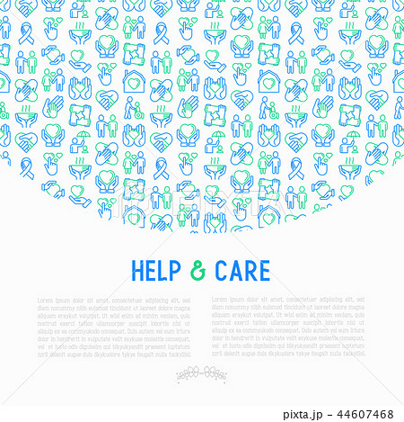 Help and care concept with thin line icons 44607468