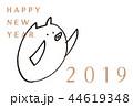 年賀状 2019 亥 手描き イラスト 44619348
