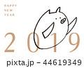 年賀状 2019 亥 手描き イラスト 44619349