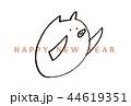 年賀状 2019 亥 手描き イラスト 44619351