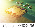 Gold credit cards close up. Macro shot smart card, credit card chip 44622136