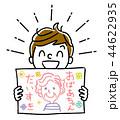 イラスト素材:おばあちゃんの似顔絵を見せる男の子 44622935