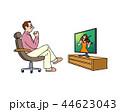 白バック テレビ 男性のイラスト 44623043