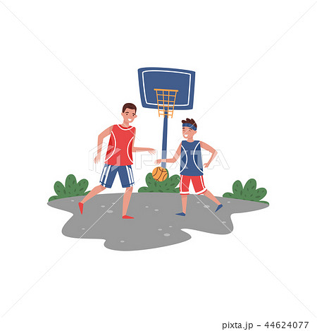Father playing basketball with his son at court. Sport lifestyle. Outdoor activity. Fatherhood theme 44624077