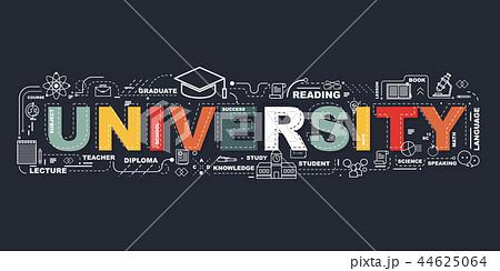 Design Concept Of Word University Website Banner. 44625064