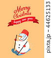 Snowman skiing with merry christmas 44625133
