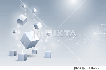 Abstract 3d cubes background vector illustration. 44627298