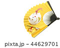亥年 年賀素材〜白イノシシと扇子飾り 44629701
