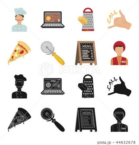 A pizza cutter, a slice, a menu in a pizzeria, a courier. Pizza and pizzeria set collection icons in 44632678