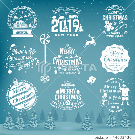 Set of Merry Christmas and Happy New Year stamp, sticker set with snowflakes, hanging christmas ball 44633430