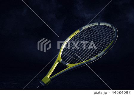 3d rendering of a yellow and black professional tennis racquet hanging in spotlight on a white 44634097