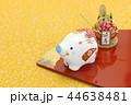亥年 年賀素材〜白イノシシと門松 44638481