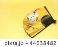 亥年 年賀素材〜白イノシシと扇子飾り 44638482