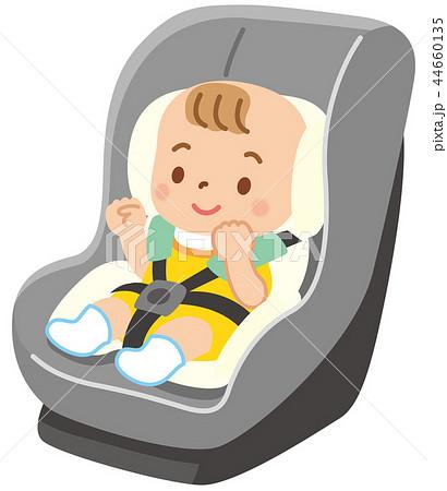 チャイルドシートに乗った赤ちゃん 44660135