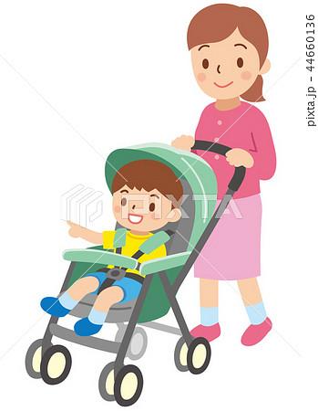 ベビーカーに乗った子供 44660136