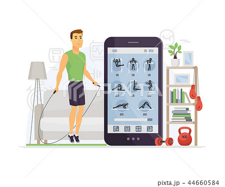 Home fitness - modern vector cartoon character illustration 44660584