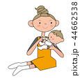 赤ちゃん ミルク 授乳のイラスト 44662538