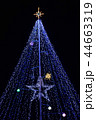 夜空に輝くイルミネーション、クリスマスツリー、黒背景 44663319