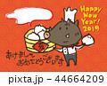 猪 年賀状 亥のイラスト 44664209
